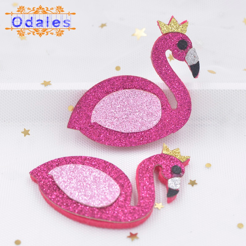 12Pcs/lot BIG Glitter <font><b>Felt</b></font> Flamingo with Gold Corwn Party DIY Supply Hair Bows DIY Craft Hair Bows Sequin Patches image