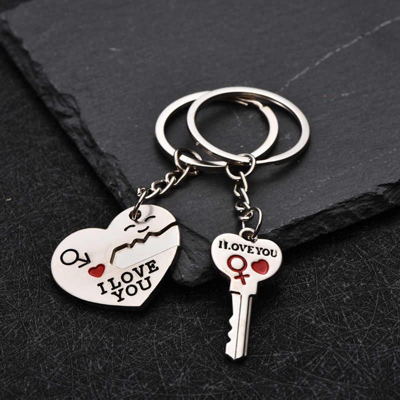 2020 coração-em forma de smiley chaveiro prata casal amor chaveiro presente do dia dos namorados 1 par de amantes amor você carta chaveiros