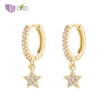 High Quality 925 Sterling Silver Small Hoop Earrings for Women Charming CZ Star Hoop Earring Good Earrings Fashion Jewelry everoyal trendy lady water drop black hoop earrings jewelry fashion 925 sterling silver earring for women princess accessories