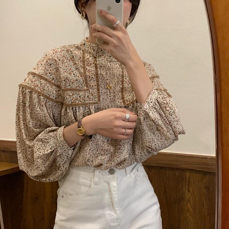 Alien Kitty Women Blouses Vintage Floral Ladies Tops Lantern Sleeve Stitching Doll Stand Collar Korean Elegant Loose Shirt Femme