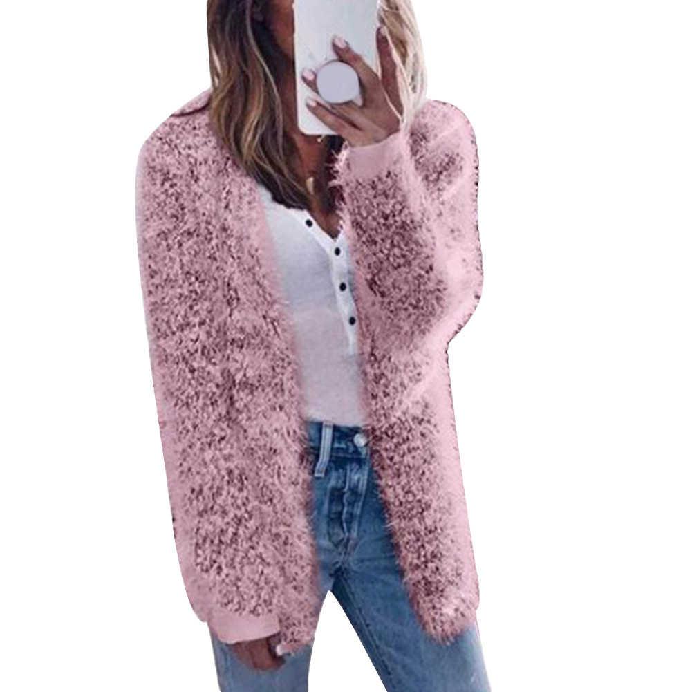 ฤดูใบไม้ร่วงฤดูหนาวผู้หญิงเสื้อแจ็คเก็ตสีทึบยาวแขนยาวถักเสื้อ Cardigan เปิดด้านหน้า Cardigans สตรีสั้น