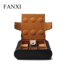 Fanxi New Black PU Leather Wrist Watch Display Bag Portable Watch Storage Velvet Internal Jewelry Organizer High Quality
