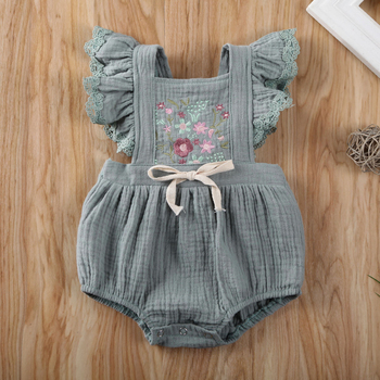 Pudcoco Newborn Baby Girl Clothes Flower Print Sleeveless Knitted Cotton Romper Jumpsuit One-Piece Outfit Sunsuit Clothes emmababy summer newborn baby girl clothes sleeveless striped bowknot strap romper jumpsuit one piece outfit sunsuit clothes