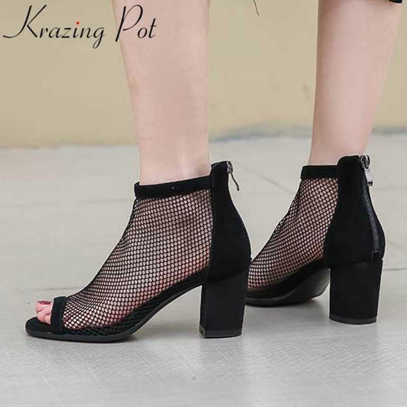 Krazing pot yeni klasik doğal deri örgü peep toe yüksek topuklar ayakkabı kadınlar basit interstar tavsiye yaz yarım çizmeler L5f1
