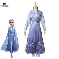 ROLECOS Elsa Princess Cosplay Costume the Snow Queen Elsa Dress Blue Long Dress Women Halloween Costume Brand Snow Dress