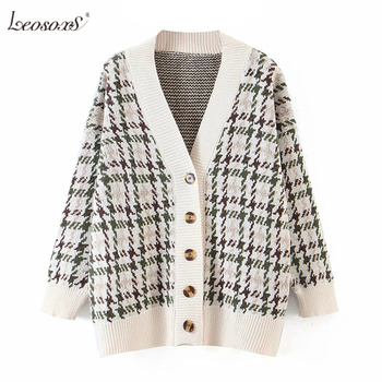 Women Houndstooth Sweater Batwing Long Sleeve Loose Casual Ladies Knitted Jumper Tops V Neck Cardigan Sweater Female werynica korean fashion ladies women knitting sweater houndstooth o neck batwing sleeve pullover loose cashmere sweater hot sale