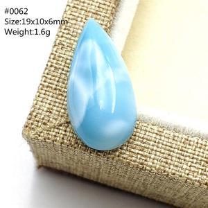Image 2 - สีน้ำเงินธรรมชาติจี้ Larimar น้ำรูปแบบ Cabochon อัญมณีจากโดมินิกา Water DROP รูปไข่ผู้หญิงของขวัญ AAAAA