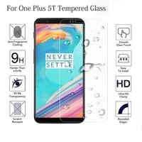 Funda completa templada de cristal de teléfono para 1 + Oneplus 5 5T pegamento total cobertura Protector de pantalla para uno más 5 5T película vidrio protectora