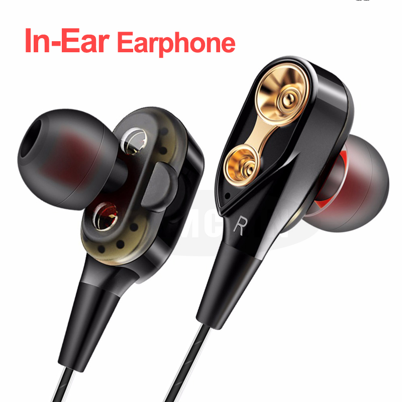 High Bass Wired <font><b>Earphone</b></font> Dual Drive Stereo In-Ear <font><b>Earphones</b></font> <font><b>With</b></font> <font><b>Microphone</b></font> Computer Earbuds For Cell Phone image