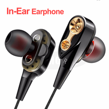 High Bass Wired Earphone Dual Drive Stereo In-Ear Earphones With Microphone Computer Earbuds For Cell Phone