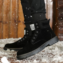 Men Shoes Winter Boots Flock Thick Velvet Keep Warm Men Boots Plush Round Toe Snow Boots Comfortable Non-slip High Top Boots Men(China)
