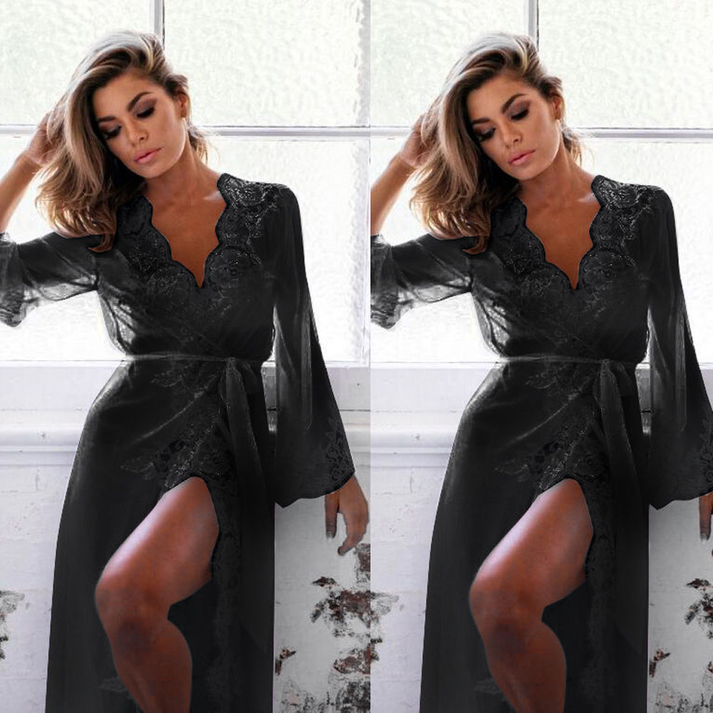Womens Sexy Long Kimono Lace Bath Robe Lingerie Gown Ice Silk Nightdress Solid Color Nightgown Nightwear Night Gown Bathrobe *S