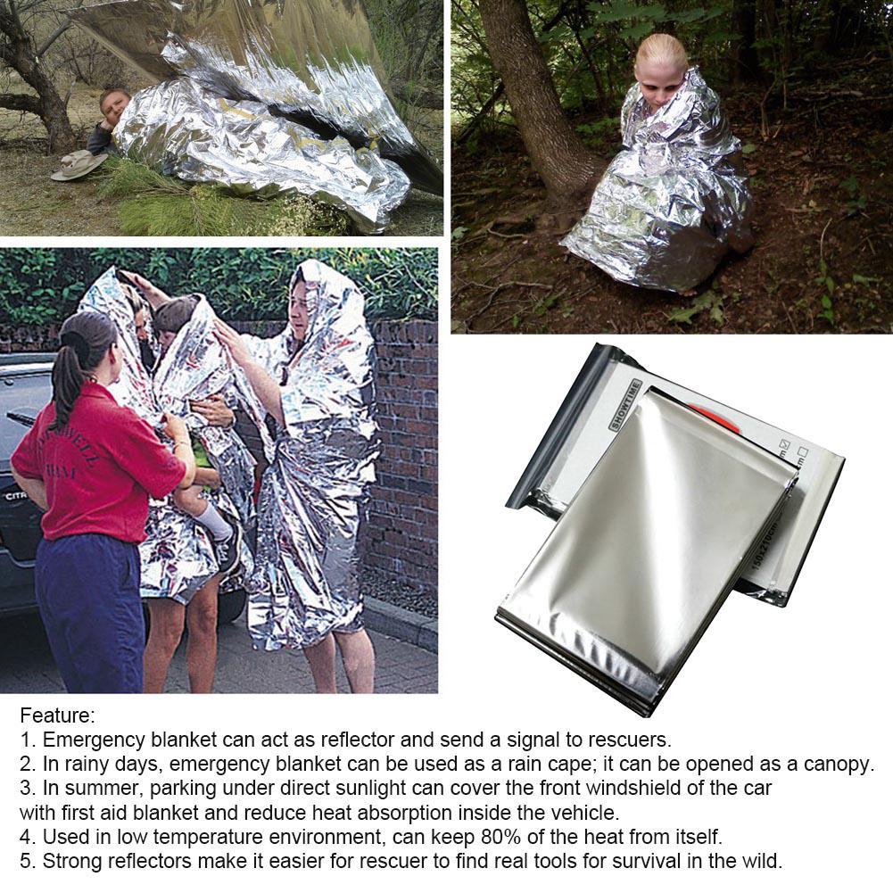 Outdoor Waterproof Emergency Survival Rescue Blanket Foil Thermal Space First Aid Sliver Rescue Curtain Blanket