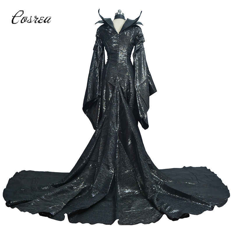 Maleficent Meesteres van Evil Halloween Maleficent Cosplay Kostuums Enge Horror Jurk Hoorns Black Queen Heks Kleding