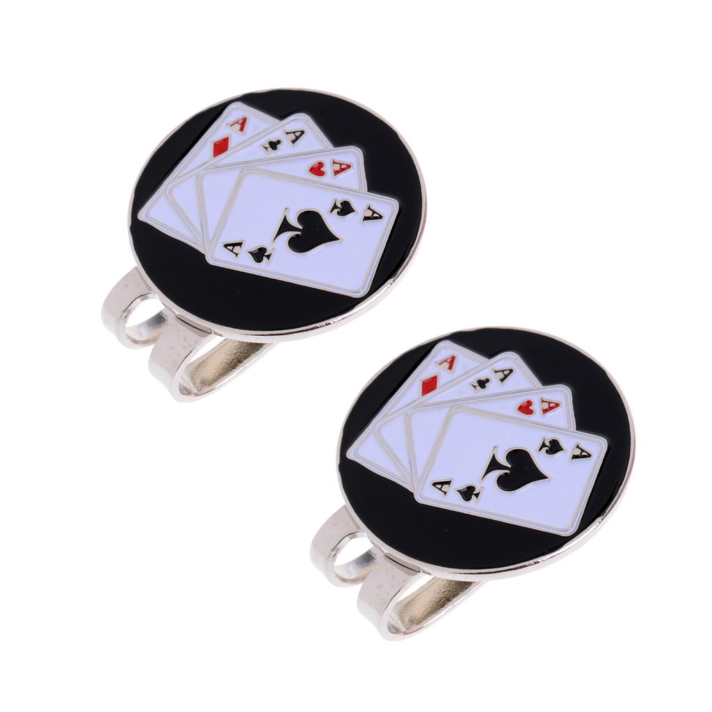 2pcs Golf Ball Marker Magnetic Hat Clip Stylish Cap Clip Gift Poker Card