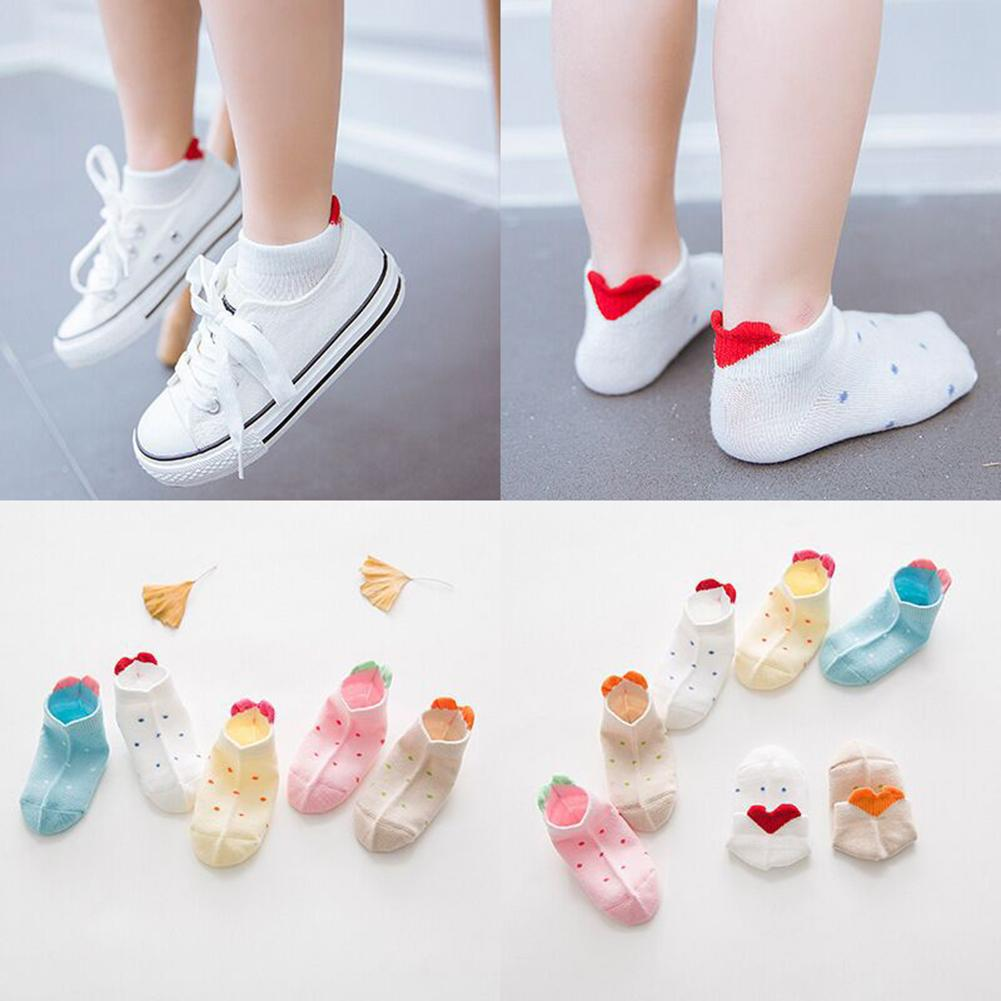 Lovely 3D Love Heart Print Heel Kids Boy Girls Elastic Low Cut Ankle Boat Socks Soft Kids Floor Socks Recien Nacido