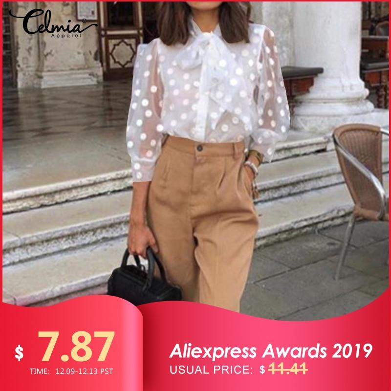 2019 Celmia S-5XL Women Fashion Polka Dot Blouses Buttons Sexy Mesh Sheer See-through Shirts Gauze Tull Tops Blusas Femininas 7