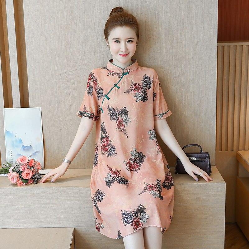 2020 Qipao Dress Loose Improved Cheongsam Dress Oriental Style Chinese Dress Plus Flowers Printing Vintage Dress Oriental Robes