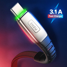 Iniu 3.1A Led Usb Kabel Micro Type C Snel Opladen Microusb Type-C Telefoon Oplader Voor Samsung S20 S8 s7 Xiaomi Mi9 Redmi Note 8 9(China)
