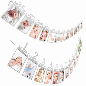 Cartel de marco de fotos de meses de 12, primeros adornos de feliz cumpleaños, primer bebé niña, suministros para fiesta de 1 año en oro, rosa y plata