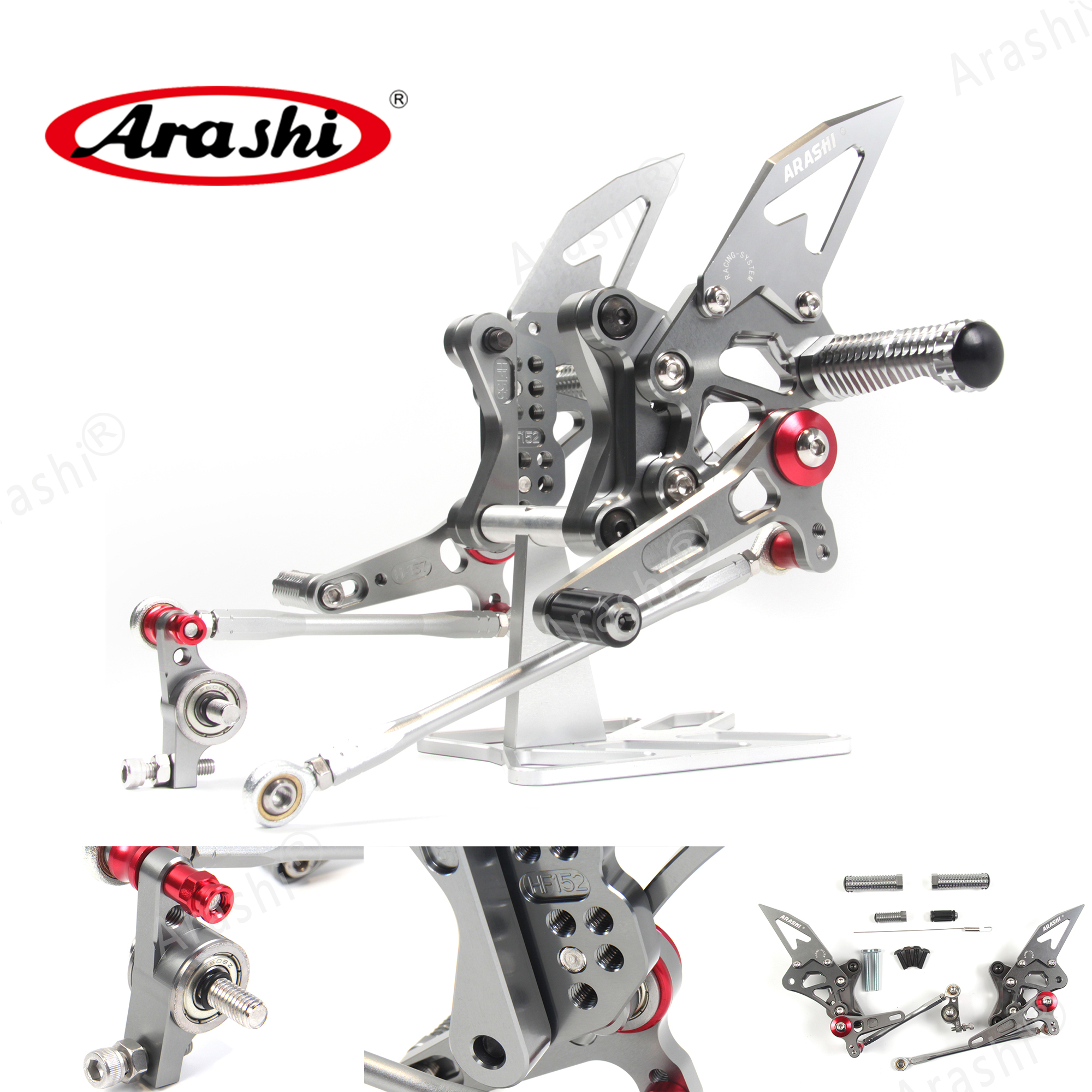 Arashi Best Arrival Rearset For DUCATI 1098 1098S 2007 2008 CNC Adjustable Footrests Foot Pegs Rider Footrest 848 EVO