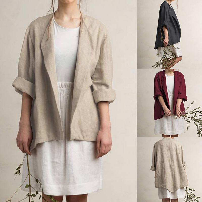 ZANZEA Women Blazer Casual Cotton Solid Blazers 2019 Autumn Turn Down Collar Long Sleeve Coats Jackets Outwear Blazer Feminino