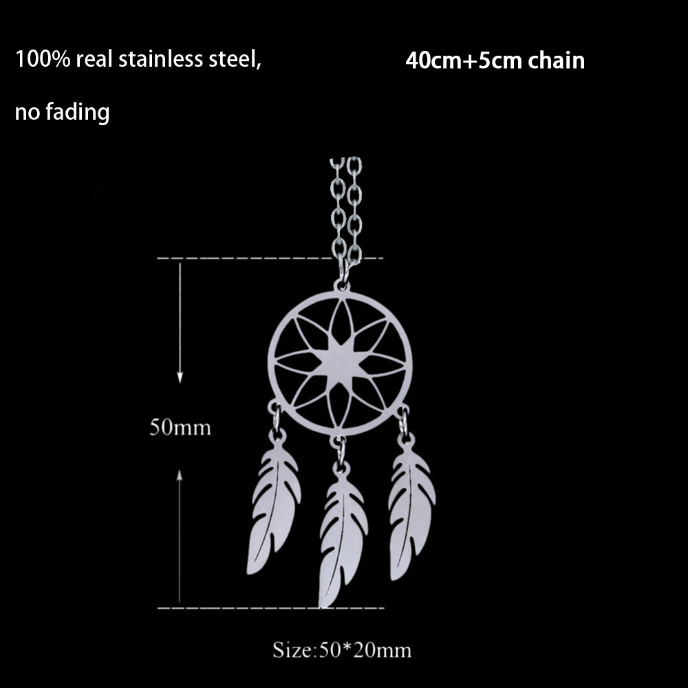 Kumihimo Braided Necklace with Dream Catcher and Feathers Pendant