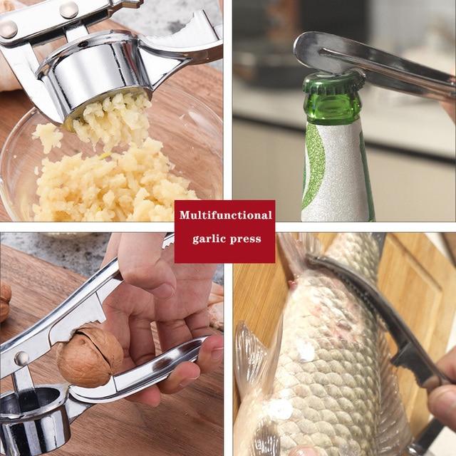Kitchen Stainless Steel Garlic Press Crusher Home Cooking Vegetables Ginger Squeezer Masher Handheld Ginger Garlic Mincer