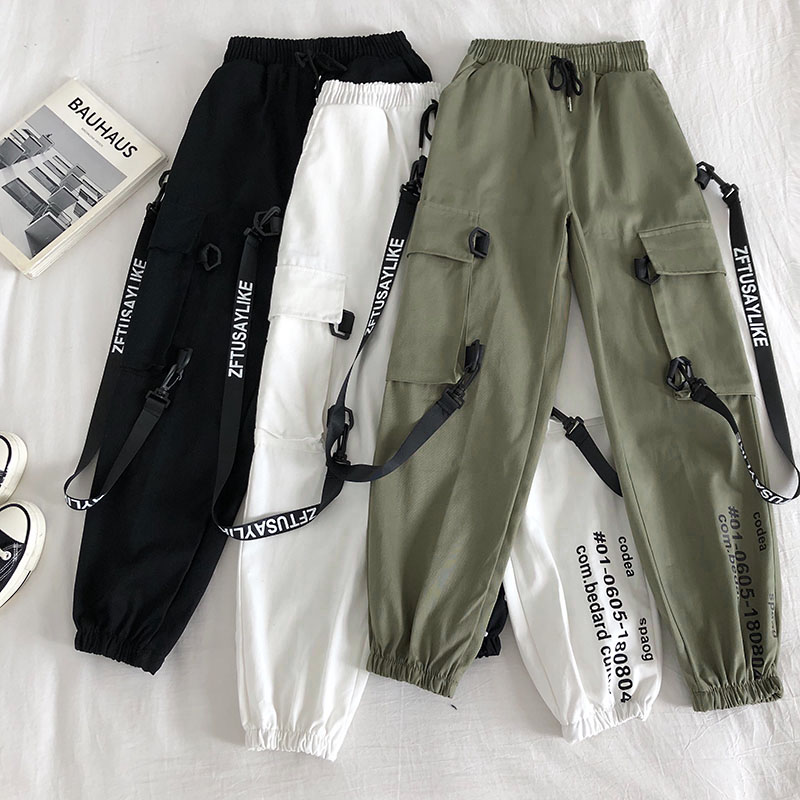 Personalized Streamer Letter Printing Double Pockets Elastic Lace Overalls Female 2020 Early Spring Korean Casual Beam Pants