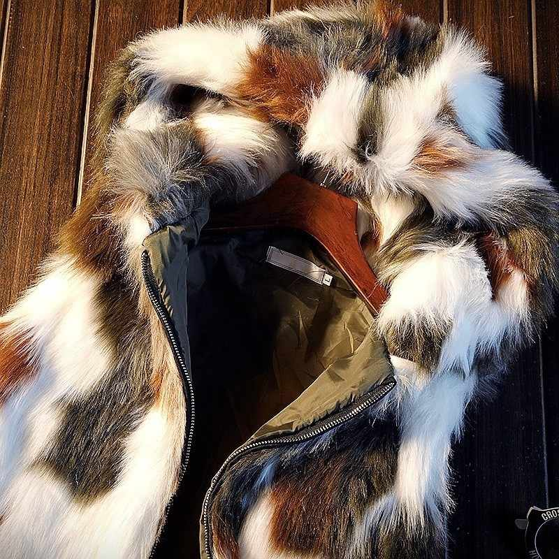 Deigner nowe zimowe grube futra męskie kamizelki bez rękawów moda zamek kamuflażowy Fly z kapturem szczupły mężczyzna kamizelki odzież imprezowa