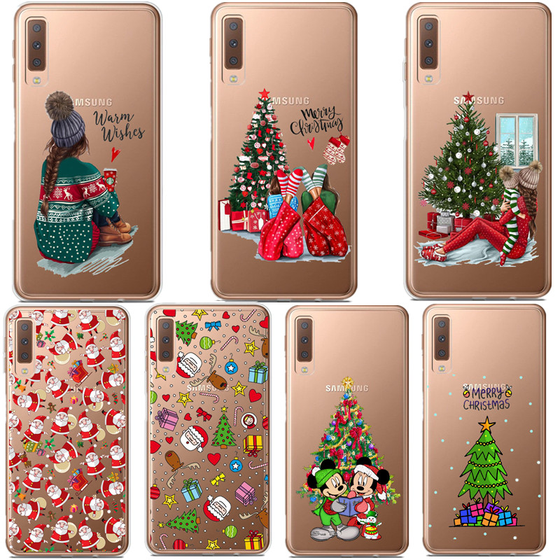 Cartoon Christmas Case For <font><b>Samsung</b></font> Galaxy A10 A30 <font><b>A50</b></font> A70 A80 <font><b>2019</b></font> Santa Claus Soft <font><b>Cover</b></font> TPU For <font><b>Samsung</b></font> A6 A7 A8 Plus A9 2018 image