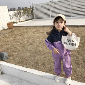 Image 2 - 2019 Autumn New Arrival Korean style clothing sets letters printed hooded matching coat with long pants fashion suit for girls