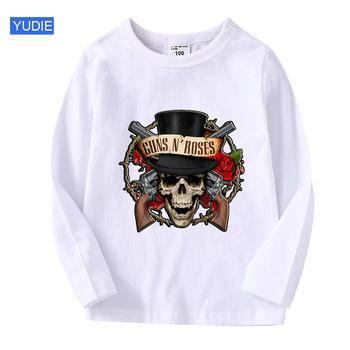 Sweter dziecięcy koszulka z długim rękawem odzież dziecięca koszulki dla chłopców pistolety róże 2020 wiosna jesienna odzież dla dzieci dla chłopców dziewcząt muzyka tanie i dobre opinie COTTON Aktywny Cartoon REGULAR O-neck Topy Tees Pełna Pasuje prawda na wymiar weź swój normalny rozmiar Unisex T20200806