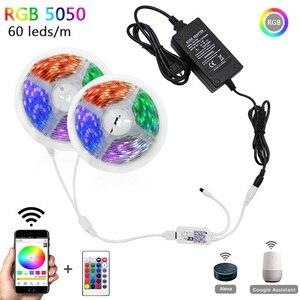 5m 10m 15m WiFi LED Strip Light RGB Waterproof SMD 5050 2835 DC12V rgb String Diode Flexible Ribbon WiFi Contoller+Adapter plug(China)