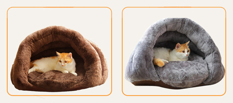 Triangle Pet bed for Small Cats Dogs Soft Nest Kennel Bed Cave House Sleeping Bag Mat Pad Tent Pets Winter Warm Cozy Beds Supply 8