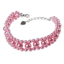 Three Rows Faux Pearl Beads Linked Pet Dog Collar Necklace S Pink(China)