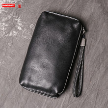 New Men's Leather Clutch Bag, Soft Leather Long Wallet, Fashionable Simple Cowhide Mobile Phone Bags