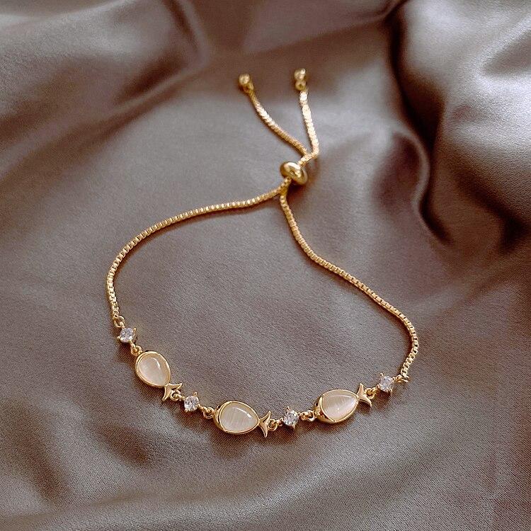 2020 Korea New Design Fashion Jewelry Creative Fish Opal Zircon Female Stretch Adjustable Bracelet