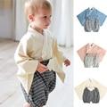 Японское кимоно для маленьких девочек и мальчиков, пижамы, Детский комбинезон с цветочным принтом, одежда для сна, Детские милые комбинезон...