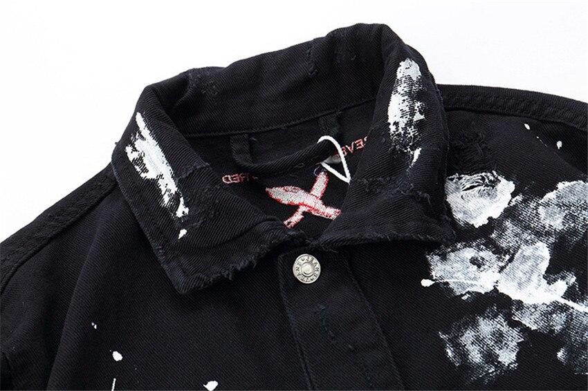Fashion 2019 New Men Hip Hop Graffiti Cartoon Ripped Denim Jackets Mens Casual Distressed Jeans Jacket Coat Streetwear - 5