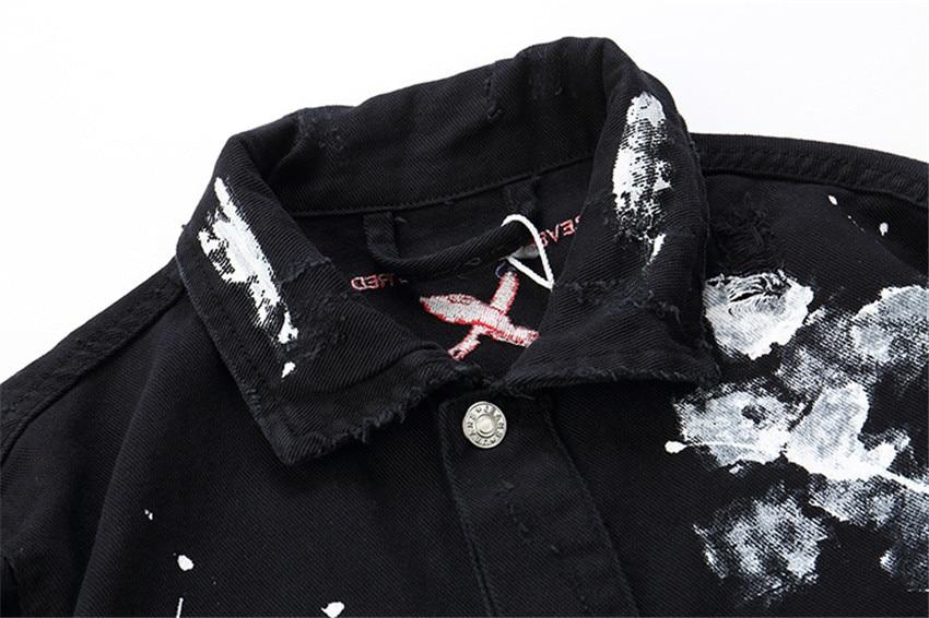 Moda 2019 Novos Homens Hip Hop Graffiti Dos Desenhos Animados Jaquetas Jeans Rasgado Mens Casual Afligido Jeans Jaqueta Casaco Streetwear - 5