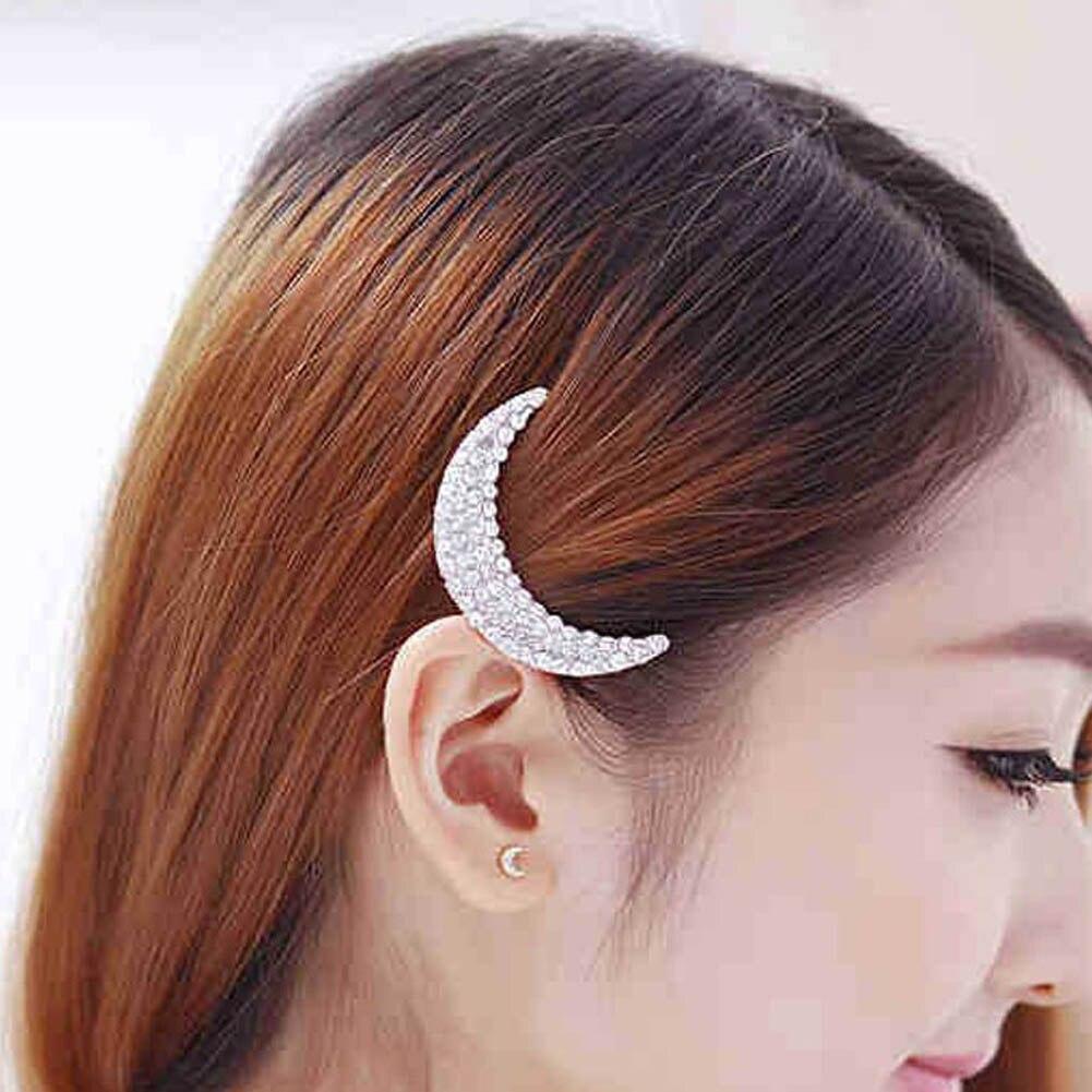 Chicas tocado horquilla abrazaderas cristal luna Rhinestone Hair Clips