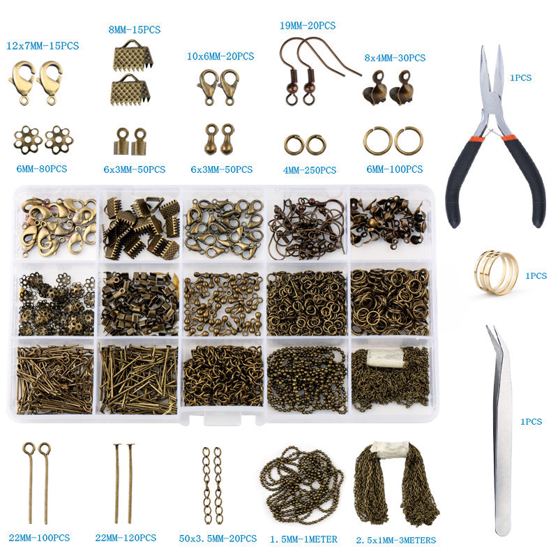 Jewelry Making Set Diy Key Chain Accessories Pendant Brooches Earwires Lobster Clasp Hook Material kit With Tools Wholesale Sets