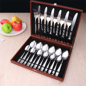 Stainless Steel 24pcs Tableware Western Cutlery Set knife spoon fork Dinner Set for 6 Person Family Supplies with Wood Gift Box
