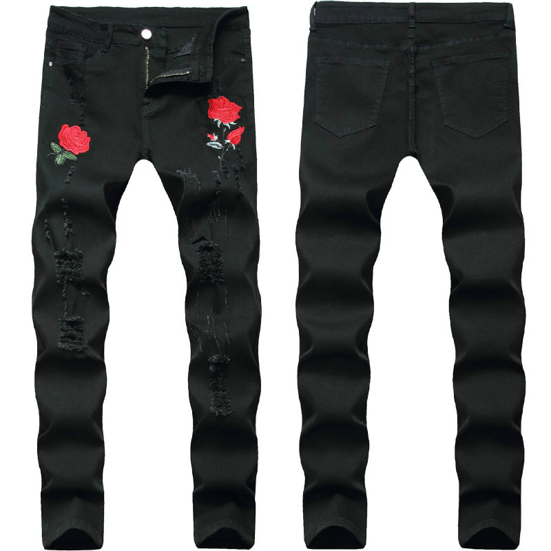 Rose Embroidery Jeans Men 2020 Brand New Mens Stretchy Ripped Biker Denim Pants Trousers Casual Slim Elastic Black Pencil Pants