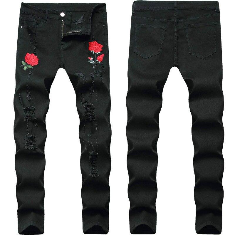 Rose Embroidery Jeans Men 2020 Brand New Mens Stretchy Ripped Biker Denim Pants Trousers Casual Slim Elastic Black Pencil Pants