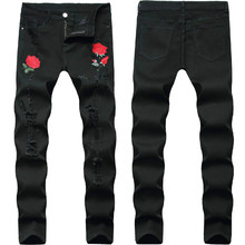 Rose Embroidery Jeans Men 2020 Brand New Mens Stretchy Ripped Biker Denim Pants