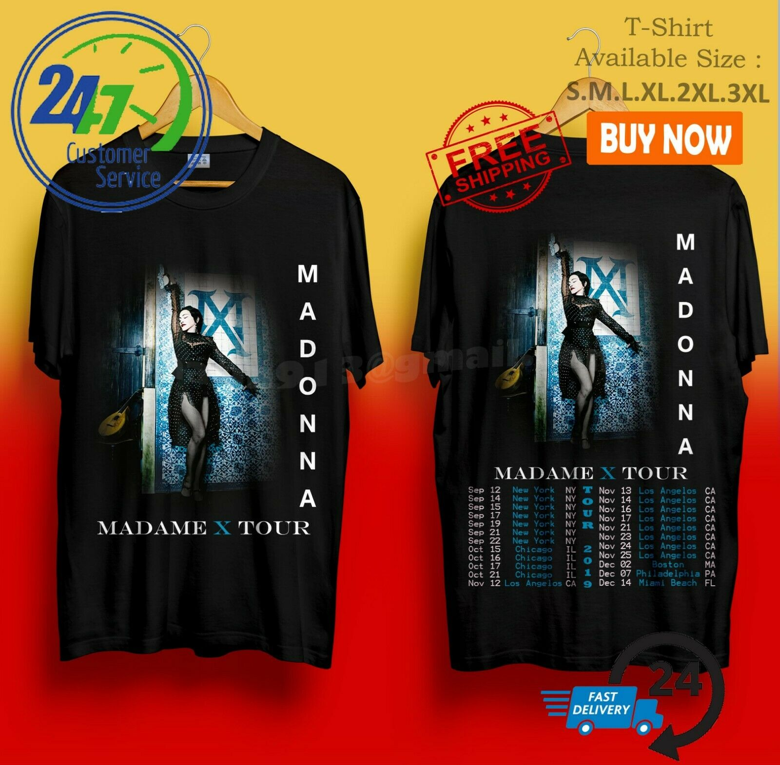 Madonna Madame X Tour 2019 U.S.A Trend Black Tshirt Size S-3Xl