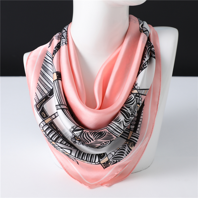 2020 New 70x70CM Imitated Silk Square Scarfs For Women Retro Printed Small Hair Scarves For Ladies Neckerchief Satin Kerchief