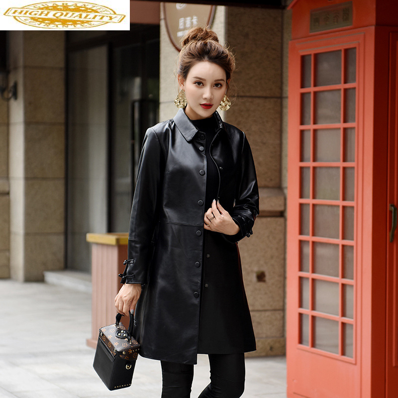 100% Sheepskin Leather Coat Real Genuine Leather Jacket Women Long Windbreaker Korean Spring Autumn Veste Femme F18J006 KJ2781
